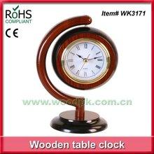 Wooden quartz office table decoration globe clock