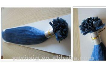 blue color u tip keratin pre bonded human hair extension