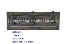 Distressed finish hardwood wall hanging cloth hooks