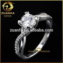 women fashion cz diamond silver wedding ring