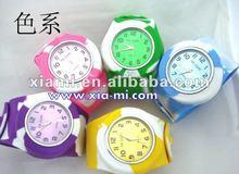 silicone detachable mix color rainbow circle slap watch camouflage