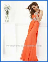 Orange Sweetheart Iridescent Beaded Long Chiffon Prom Dresses 2012