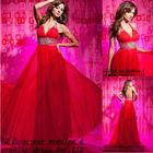 new model chiffon long crystal bead waist red paris formal evening dresses for dinner