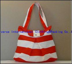 Red-White stripe Cotton Shopping Handbag