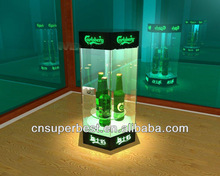Cube acrylic wine bottle display with green LED