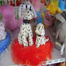 black/white color plush dalmatian dog,stuffed spot dog, plush spotted dog on red heart pillow