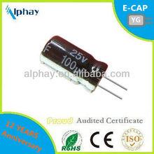 100uF 25v 6.3X11 20% Orignal NEW aluminum electrolytic capacitor