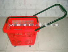 2012 New style plastic rolling Basket with 4 wheels