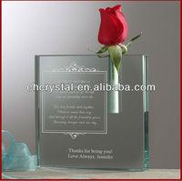 jade glass bud vase ,small rectangle crystal flower vase