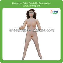 Tamanho real boneca sexual inflável com preto curvo cabelo / silicon cabeça mão e pés