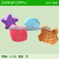 Rana/shell/caracol/estrella de mar 3d de plástico cortador de galletas set