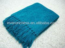 50CF61 100% viscose rayon chenille throw blanket woven chenille blanket