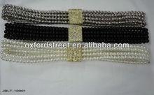 Bead belt with rhinestone and pearl