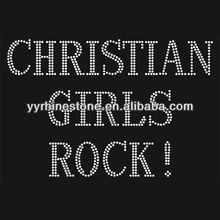 Christian girls rock hot fix rhinestone transfer design