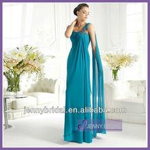 SPC020 Lake blue beads long elegant chiffon sash one-shoulder formal evening dress