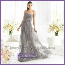 SPC054 fashion 2013 hand made flower long Chiffon silver or grey evening dress