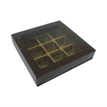 Black paper chocolate gift box with plastic tray