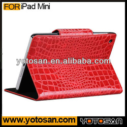 New design crocodile skin stand leather case cover for tablet ipad mini