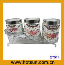3 pcs seal pot flotal print ceramic product 2Y014