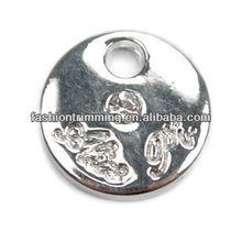 Round alloy rhinestone charms