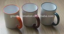 ceramic rim color mug,sublimation printable