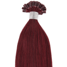 """20"""" Remy Human Pre Bonded Nail U Tip Keratin Glue Hair Extension Red Wine 100s"""