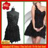 Newest Best Selling One Shoulder Appliques Beads Black Mini Cocktail Dress 2013