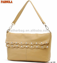 Fashion leather satchel bags with lacework and shining studs