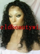 """14"""" deep wave 1B full lace wig /lace front wig 100% human hair wig"""