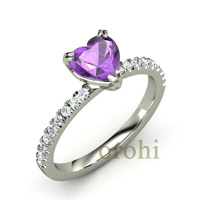 Top quality 14ct white gold hear cut heart design amethyst stone ring ...
