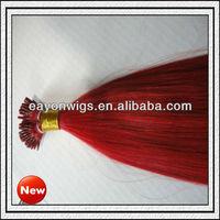Red fashionable brazilian hair weave bundles i-tip hair extension