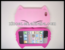 New style gigi cat silicone skin case for apple iphone4