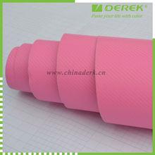 Car Using Pink color 3D Carbon Fiber Vinyl wrap ,carbon fiber car wrap film