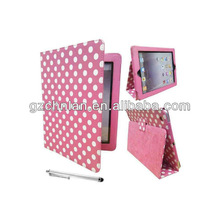 2012 New design Dot pattern leather case for iPad 2/3 ,paypal accept