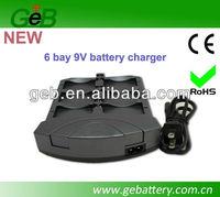 Smart 6-Bay 9V Li-ion and NiMH/NiCd Battery Charger