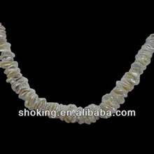 White Irregular Shape Reborn Pearl Strands For Necklace 2013