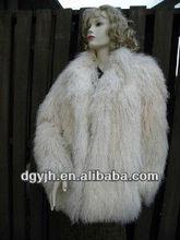 2012 luxurious fashion women's red mongolian lamb fur coat