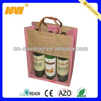 jute wine tote bag(NV-J0154)