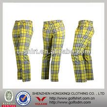 Men Sports Golf Pants/trousers yellow Plaids Color