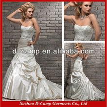 WD-932 beaded lace appliqued bodice cheap ivory satin wedding dresses satin slip wedding dress satin slip wedding dress