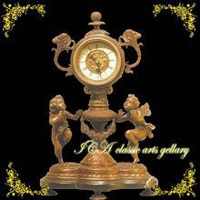 European antique home decoration high quality gold table angel clocke
