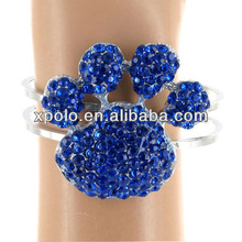 """Silvertone/Crystal Accents/2"""" Paw Print * 0.5"""" Band/Magnetic Closure/Lead Safe/Cuff Bracelet/ Bangle"""