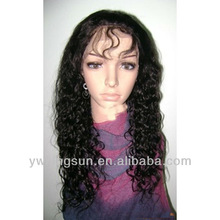 Fashion lady human hair hand-woven 100% Indian Virgin Water Wave Hair full lace wig