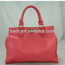 ladies fashion ostrich pu tote handbag with decoration metal turnlock