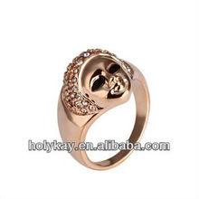 new rings! round shape lovely girl face white diamond decorate ring