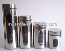 Glass canister set with stainless steel coating SL010-MT2-ABCD