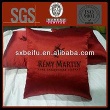 square embroidery customized logo satin cushion