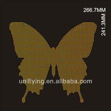 Yellow butterfly rhinestone iron-on transfer