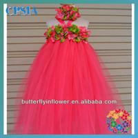 Little Girl Dress Set Pink Beautiful Flower long Dress For Children Summer Dresses For Girls 12 colors 6 sizes