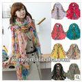 Venta al por mayor venta de las existencias!! 2012 de moda diseño de la flor 100% de poliéster suave al tacto bufanda chal, de gran tamaño, puede ser hijab